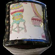 Chinese Pastel Pottery Shard Lid on Keepsake Box