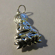 Chinese Miao Silver Charm of Goddess of Mercy