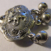 Miao Silver Charm of Money Mouse Longevity Lock with Triple Bells