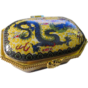 Green Dragon Ceramic Pillbox with Snap-On Hinged Lid - Red Tag Sale Item