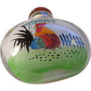 Chinese Glass Snuff Bottle of Hand Painted Rooster and Hen