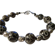 Etched Black Jade Bead Ball Bracelet with Tibetan Silver Accents