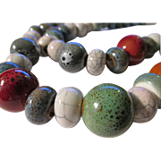 Handcrafted Speckled and Crackled Ceramic Bead Necklace, 20""