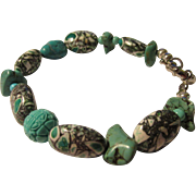 Natural and Reconstructed Turquoise Bead and Nugget Bracelet, 8 1/2""