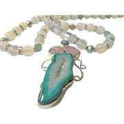 Blue Aqua Druzy Crystal Slice Artisan Pendant with Moonstone and Crystal Bead Necklace, 24""