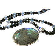 """Iridescent Labradorite Oval Pendant with Black Agate and Crystal Bead Necklace, 24"""""""