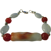 Amazonite Branch with Blue Aquamarine and Carved Carnelian Bead Bracelet, 8 1/2""