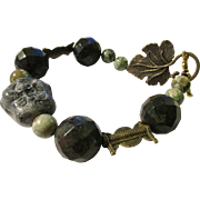 Chinese Carved Happy Buddha Hotei Stone Bead with Faceted Bloodstone and African Ghana Copper Coil Bead Bracelet, 8""