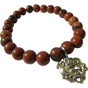 Red Jasper Bead Expandable Bracelet with Tibetan Silver Charm of Dragon with Money Coin