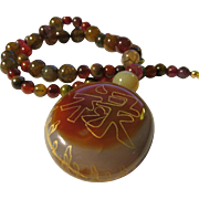 """Golden Etched Chinese Good Fortune Agate Stone Pendant with Dragon's Vein Agate Bead Necklace, 20"""""""