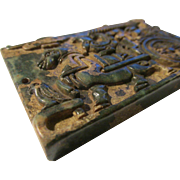 Old Jade Tablet of Horse-Drawn Wagon with Man and His Birds