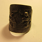 Chinese Miao Silver Adjustable Ring of Two Men Drinking Tea