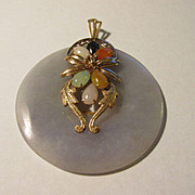 """Vintage-Estate Rare Chinese Lavender Jade Pendant with Multi-Color Jade Flower Accent in 14K Gold Setting, 2"""""""