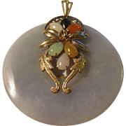 Vintage-Estate Rare Chinese Lavender Jade Pendant with Multi-Color Jade Flower Accent in 14K Gold Setting, 2""
