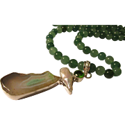 Artisan White-Green Druzy Crystal-Fresh Water Pearl Pendant with Chinese Green Jade and Aventurine Bead Necklace, 27""