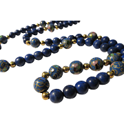 Vintage Periwinkle Blue Chinese Floral Cloisonne Enamel Bead with Blue Gemstone Bead Necklace, 26""