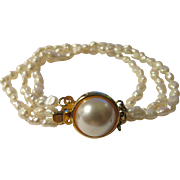 Vintage Triple Strand Pure White Fresh Water Rice Pearl Bracelet with Pinch Pearl Clasp, 7 1/2""