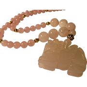 Carved Pink Rose Quartz Chinese Foo Lion Dog Charm-Pendant with Pink Quartz Bead Necklace, 22""