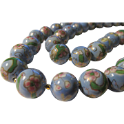Vintage Powder Blue Chinese Porcelain Hand Painted Floral Bead Necklace, 21""