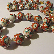 Vintage Chinese White Porcelain Bead Necklace with Hand Painted Green and Crimson Dragons, 26""