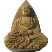 Carved Chinese Olive Green Jade Collectible-Figurine-Pendant of Buddha, the Enlightened One