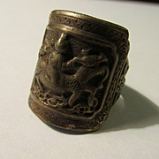 Vintage Chinese Miao Silver Adjustable Unisex Finger Ring of Baby Riding Kylin, One Size