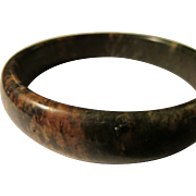 Dark Green Chinese Jade Bangle with Coco Brown Markings, 68mm