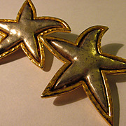 Vintage EDOUARD RAMBAUD of Paris, Flambouant Gold-Silver Metallic Star Clip Style Earrings