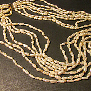 White Fresh Water Rice Pearl, Graduated 6-Strand Necklace with 14K Clasp, 26""