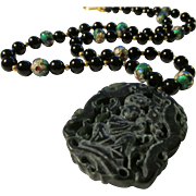 Chinese Black Jade Pendant of Little Child with Green Cloisonne and Jet Onyx Bead Necklace, 24""