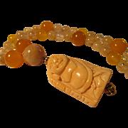 "Asian God Netsuke Charm-Pendant with Jade, Topaz, Yellow Quartz Bead Necklace, 23"""
