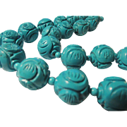 "Exquisite Hand Carved Chinese Turquoise ""Shou"" Ball Bead Necklace, 20"""