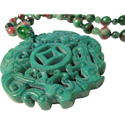 """Chinese Green Jade Dragon Pendant with Faceted Tri-Color Jade Bead Necklace, 24"""""""