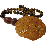 Honey-Colored Chinese Jade Pendant of Kwan Yin and Phoenix Birds with Tiger Eye Bead Necklace, 22""
