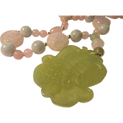 "Chinese Green Jade Pendant with Rose Quartz ""Shou"" Bead, Pink Jade, and Celadon Green Jade Bead Necklace, 18"""