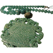 Double Dragon and Urn Carved into Green Jade Pendant with Jade, Aventurine, and Dzi Bead Necklace, 18""