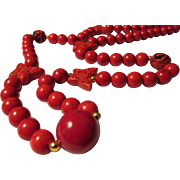 """Red Cinnabar Butterfly Charms with Red Gemstone Bead Necklace, 23"""""""