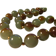 Chinese Jade Olive-Brown Bead Necklace with 14K GF Spacers, 19""