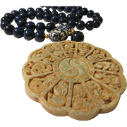 Chinese Jade Medallion Pendant of Twelve Animal Zodiac with Lapis Lazuli Bead Necklace, 22""