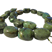 """African Turquoise Jasper Gemstone Nugget Necklace with Heavy Veining, 19"""""""