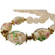Pink Rosebud Lampwork Glass Beads with White Jade Necklace, 18""
