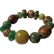 Ethnic Tibetan Dzi-Chinese Jade-Mixed Gemstone Bead Expandable Bracelet