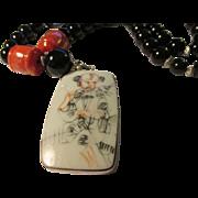 "Chinese Pottery Shard Pendant with Orange Jade and Black Onyx Bead Necklace, 20"""