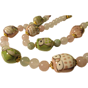Hand Painted Ceramic Baby Owls with Jade and Gemstone Bead Necklace, 22""