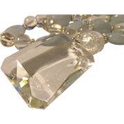 """Angle-Cut Clear Crystal Pendant with Aquamarine and Clear Crystal Ball Bead Necklace, 18"""""""