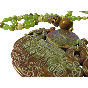 Chinese Dragon-Yin Yang Jade Medallion Pendant with Lime Green Kunzite, Jade, Copper Coil Bead Necklace, 22""