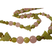 """Mini Chartreuse Green Jade Butterfly Charms with Pink and Green Jade Bead Necklace, 28"""""""