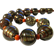 Silver Foil, Red Striped, Smoke-Colored Glass Bead with Red Coral Necklace, 18""