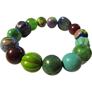 Jade-Ceramic-Chinese Cloisonne-Mixed Gemstone Bead Expandable Bracelet