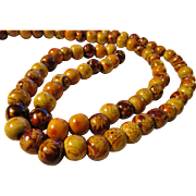 Tribal African Handpainted Wooden Bead Necklace, 33""